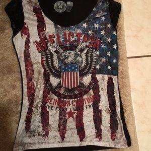 NWOT affliction tank top shirt eagle flag l large